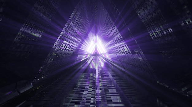 Dark triangle tunnel with violet rays 4k uhd 3d illustration