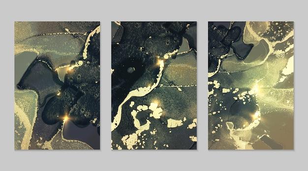 Темно-бирюзовый и золотой фон с текстурой мрамора абстрактного вектора, установленного в спиртовых чернилах