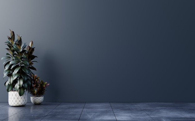 Stanza vuota a parete scura con piante su un pavimento, rendering 3d