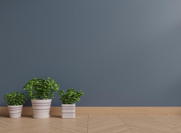 바닥에 식물을 가진 어두운 벽