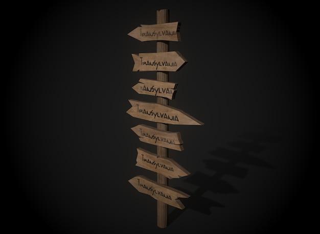 暗い木製の看板のウェブ要素は、バナーとラベル3drenderingを設定します