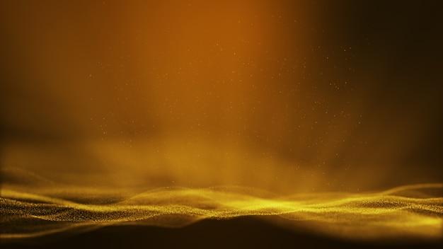動く粒子とちらつき粒子が形成されるダークイエローゴールドの抽象的なアニメーションの背景。