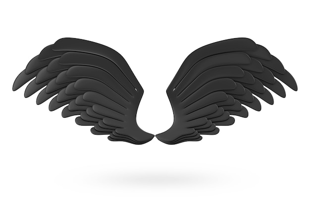 Крылья тьмы черные, изолированные на белом фоне