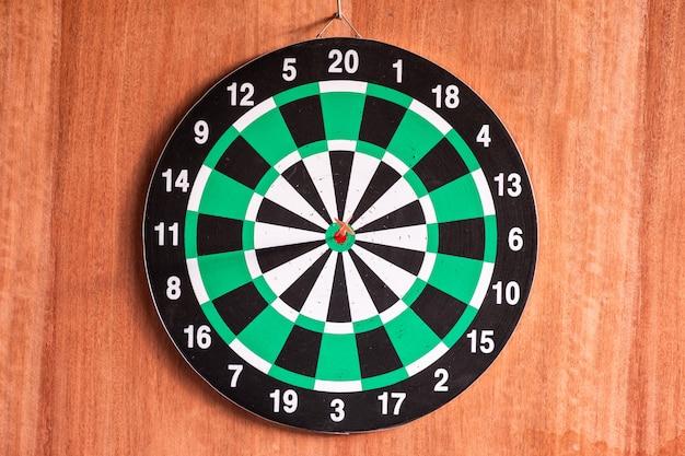 Dart arrow in bullseye target on dartboard