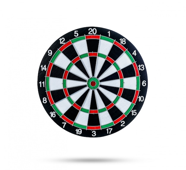 Dart board isolated on white surface
