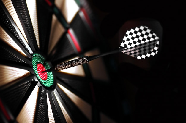 Dart hitting in the bull's-eye