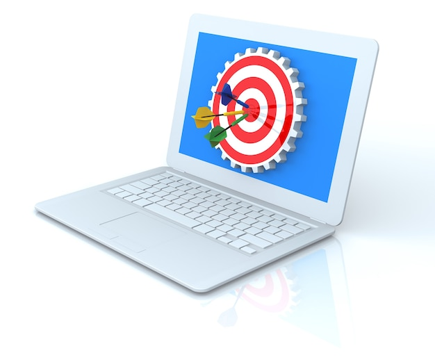 Dart hitting a gear target in laptop, isolated on white background, 3d rendering