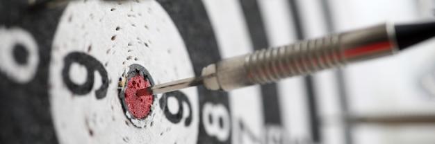 Dart shot to bull eye of dartboard among others