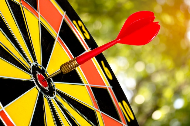Dart target board, with abstract nature bokeh blur