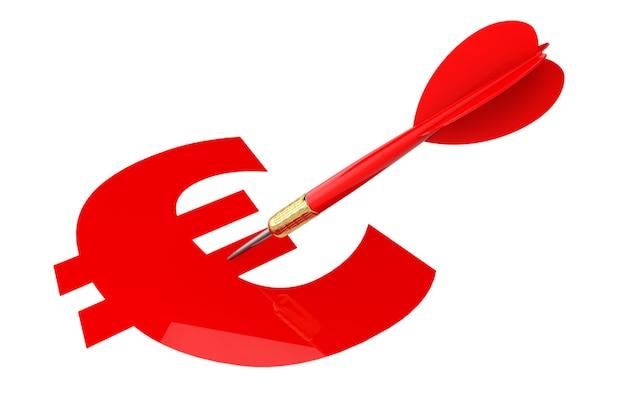 Дартс стрелка с целью знак евро на белом фоне