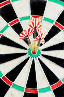 Darts in the center of the board