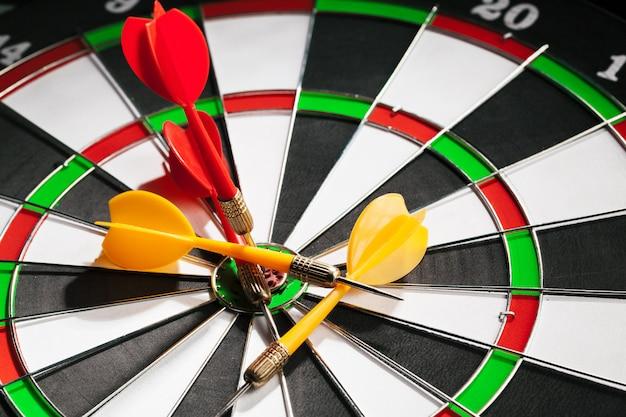 Darts on dartboard