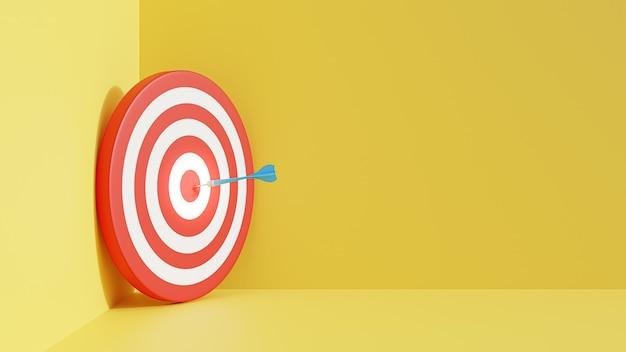 다트는 노란색 배경에 고립 된 3d 그림을 대상으로 합니다. 성공 비즈니스 개념