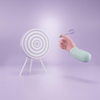 Мишень для дартса. цель бизнеса. бизнес-концепция успеха. 3d рендеринг