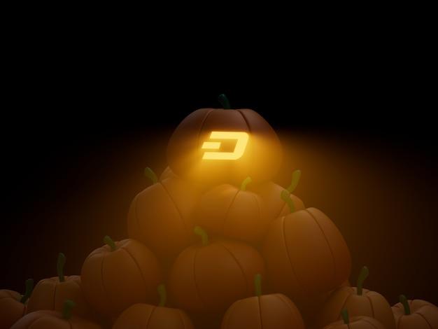 대시 조각된 호박 스택 더미 암호화 통화 3d 그림 렌더링 어두운 조명