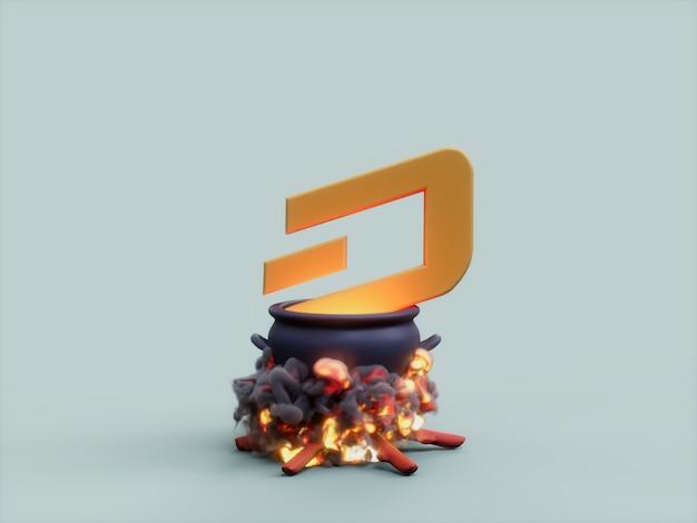 Dash cauldron fire cook crypto 통화 3d 그림 렌더링