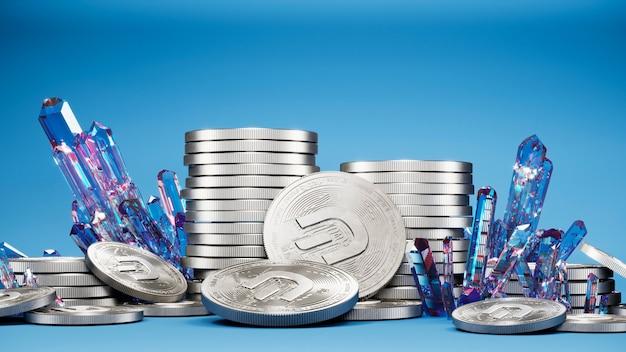 Монета тире и кристаллы 3d иллюстрации. крипто фон