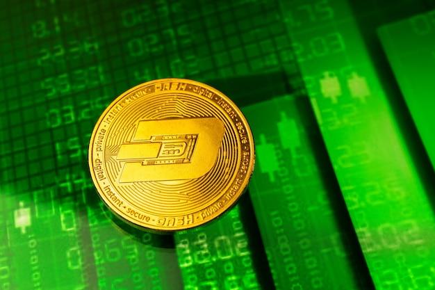대시 코인 암호 화폐 성장 주식 차트 배경, 황금 동전 클로즈업
