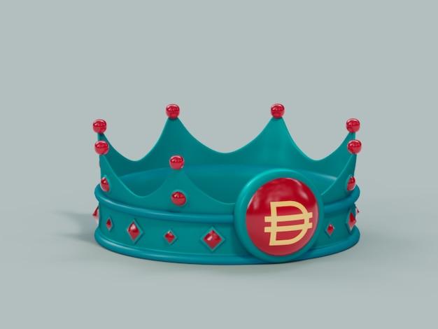 Dash crown king победитель чемпион криптовалюты 3d иллюстрация визуализации