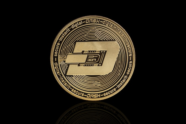Dash cryptocurrency coin on black