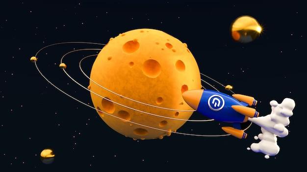 달에 대쉬. 암호화 로켓 3d 그림입니다.