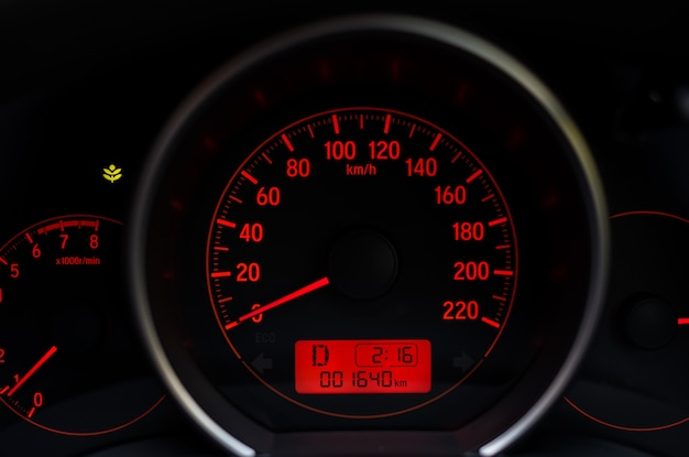 Dashboard of mileage car