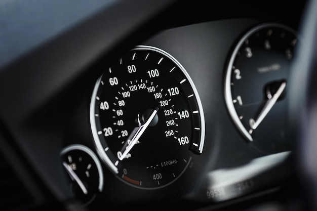 Dashboard with speedometer and tachometer