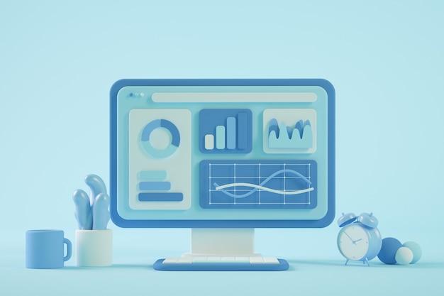 Data analysis on computer website 3d rendering