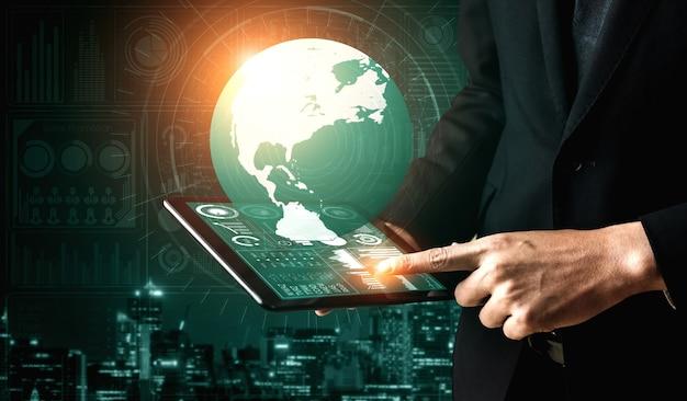 비즈니스 및 금융 개념에 대한 데이터 분석. 디지털 비즈니스 전략을위한 수익 분석, 온라인 마케팅 조사 및 정보 보고서의 미래 컴퓨터 기술을 보여주는 그래픽 인터페이스.