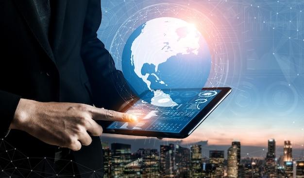 비즈니스 및 금융 개념에 대한 데이터 분석. 이익 분석의 미래 컴퓨터 기술을 보여주는 그래픽 인터페이스