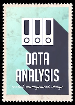 Анализ данных на синем. винтажная концепция в плоском дизайне с длинными тенями.