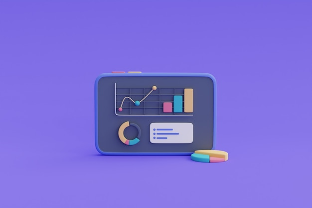 グラフ付きのスマートフォン画面でのデータ分析、ビジネス財務分析、オンラインマーケティングconcept.3dレンダリング。