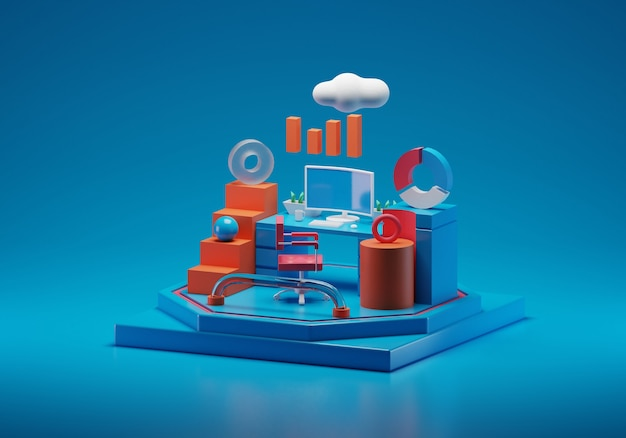 Data analyst and workplace 3d illustration