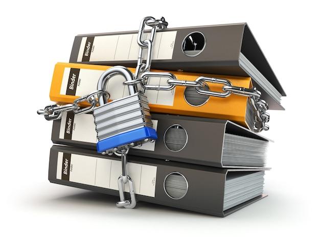 데이터 및 개인 정보 보안. 정보 보호. 파일 폴더 및 잠금 장치가 있는 체인. 3d