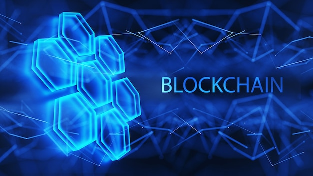 Data cells on a blue background. distributed blockchain technology concept. digital background. 3d render.