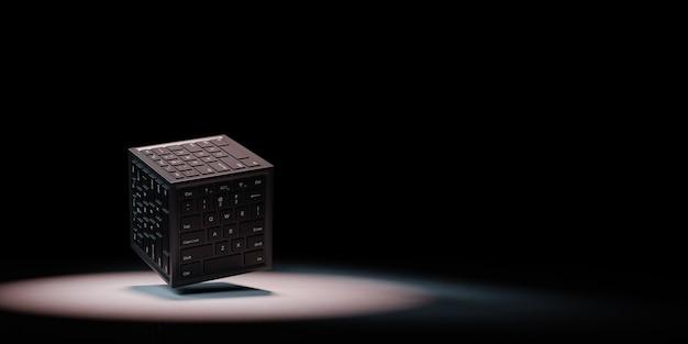 Data center concept spotlighted on black background