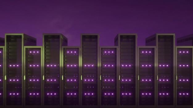 끝없는 서버가 있는 데이터 센터. 3d 렌더링