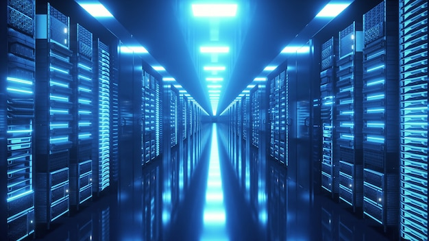 끝없는 서버가있는 데이터 센터 유리 패널 뒤에있는 네트워크 및 정보 서버
