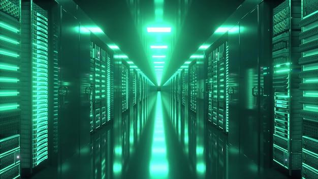 끝없는 서버가있는 데이터 센터. 유리 패널 뒤에있는 네트워크 및 정보 서버.