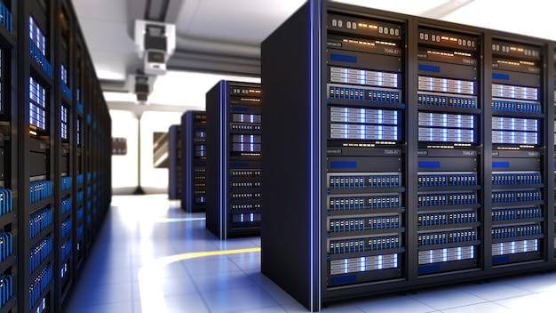 Центр обработки данных с несколькими рядами полнофункциональных серверных стоек. большая серверная зона.