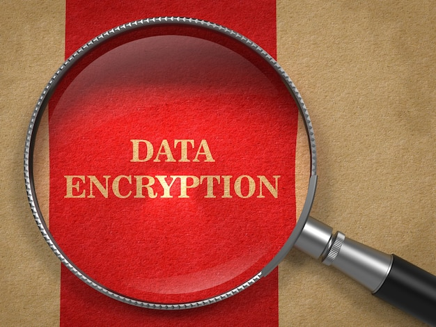 Data encryption concept. magnifying glass on old paper with red vertical line background.
