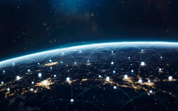 Обмен данными и глобальная сеть по всему миру. земля ночью, огни города с орбиты. элементы этого изображения, предоставленные наса