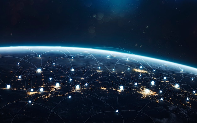 Data exchange and global network over the world. earth at night, city lights from orbit.