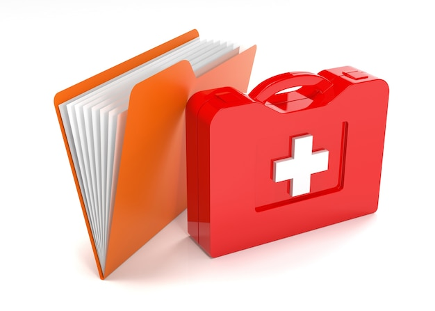 Data folders in first aid kit. isolated on white background.