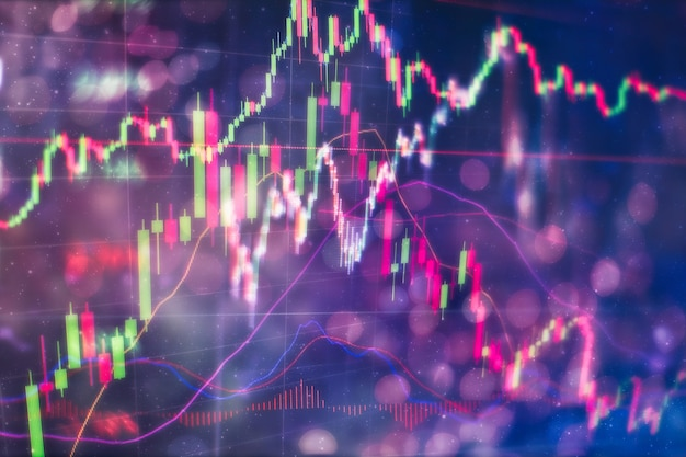 Market analyze를 포함한 모니터의 데이터. 막대 그래프, 다이어그램, 재무 수치. 외환 차트.