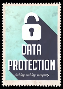 Data protection on blue. vintage concept in flat design with long shadows.