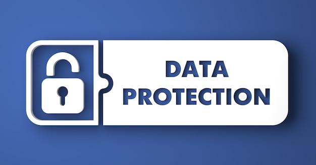 データ保護の概念。フラットなデザインスタイルの青い背景の上の白いボタン。