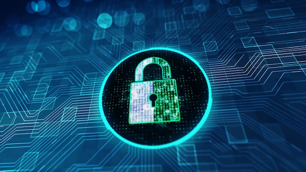 Data protection cyber security concept with lock icon in cyber space.