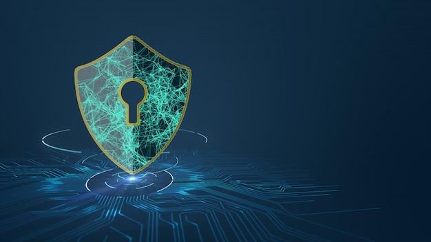 인쇄 회로 기판 (pcb) 디자인에 방패 아이콘으로 데이터 보호 사이버 보안 개념.