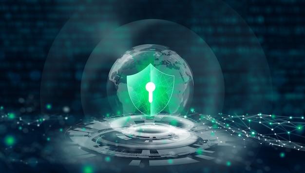 Защита данных cyber security privacy shield со значком keyhole в глобальном деловом интернете